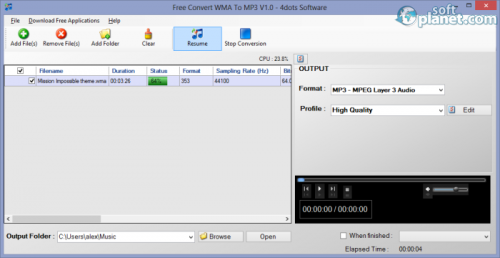Free Convert WMA To MP3 1.1