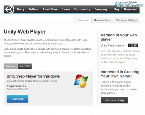 Unity Web Player 4.2.2