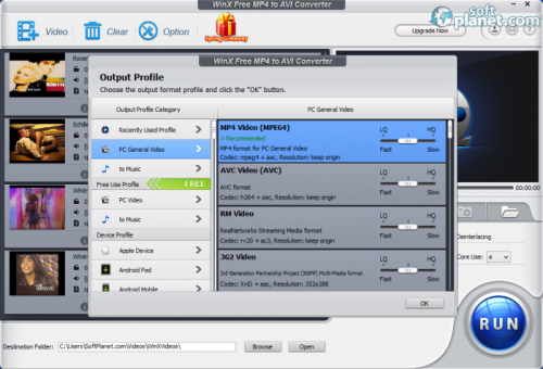 WinX Free MP4 to AVI Converter 5.0.4