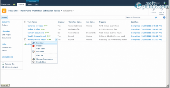 HarePoint Workflow Scheduler for SharePoint Screenshot2